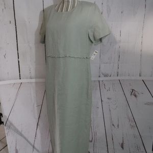 NEW Talbots Irish Linen Sage Long Dress